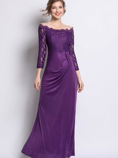 Purple Lace Maxi Evening Dress