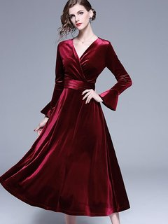 Red Velvet Long Evening Dress