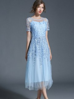 Embroidered Lace Mesh Party Dress