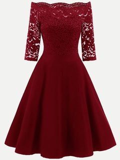 Lace Cocktail Boat Neck Solid Swing Dress With Sleeves