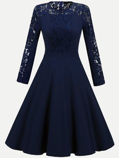 Lace Cocktail Solid A Line Swing Dress For Wedding