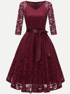 Lace Party V Neck Solid Swing Dress With Sleeves