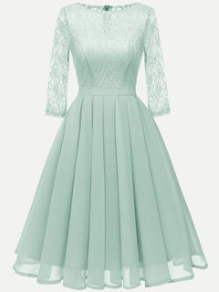 Lace Chiffon Cocktail Solid Swing Dress With Sleevs