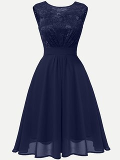 Lace Chiffon Party Solid Sleeveless Swing Dress
