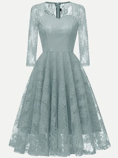 Lace Prom Solid Long Sleeve Swing Dress