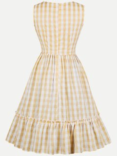 Womens Rockabilly 50s 60s Vintage Dress Yellow Plaid Print Sleeveless Swing Dress
