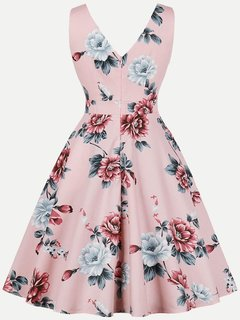 Womens 50s 60s Vintage Dress Rockabilly V Neck Floral Print Sleeveless Swing Dress