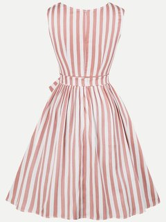 Womens 50s 60s Vintage Dress Rockabilly Striped Lacing Sleeveless Swing Dress