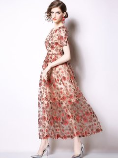 Lace Patchwork Embroidery Flowers Long Evening Dress