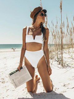 Solid Plunge High Waisted Bikini