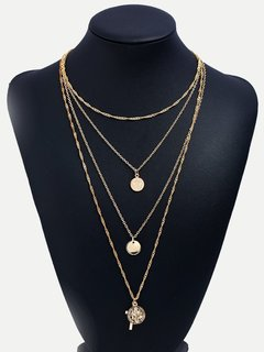 Circle & Cross Layered Gold Pendant Necklace
