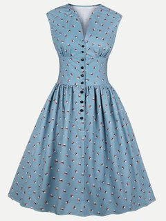 60s Retro Rockabilly V Neck Print Sleeveless Swing Dress