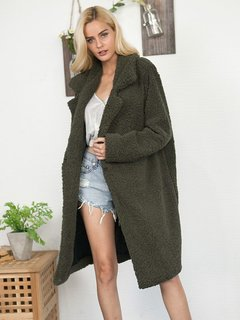 Solid Long Faux Fur Teddy Coat