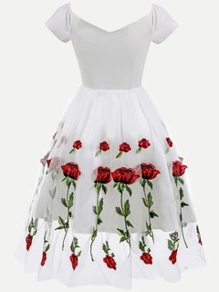 Embroidered Flowers Lace Skater Dress