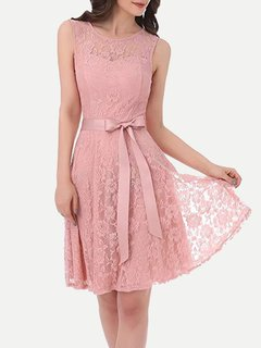 Lace Overlay Solid Sleeveless Lacing Midi Dress