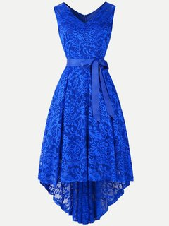 Lace Solid High Low Sleeveless A Line Swing Dress