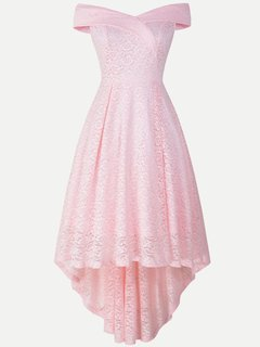 Lace Overlay Prom Solid High Low Maxi Swing Dress