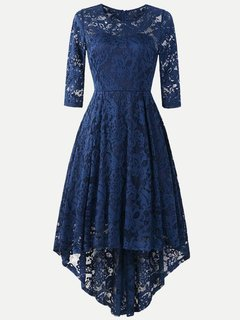Cocktail High Low Long Sleeve Lace Overlay Swing Dress