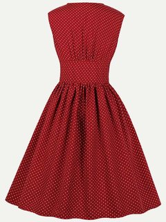 Womens 50s 60s Vintage Rockabilly Dress V Neck Polka Dots Print High Waist Sleeveless Swing Dress