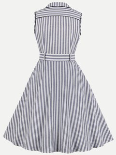 60s Grey Striped Sleeveless Swing Dress
