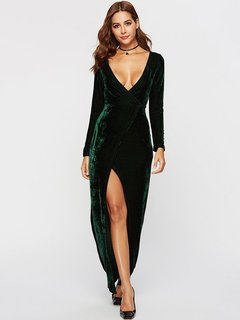 Womens Maxi Dress Green Casual Summer Party Prom Evening V Neck Solid Color Long Sleeve Velvet Plus Size Long Full Length Bodycon Dress