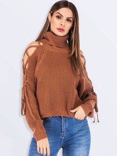 High Neck Off Shoulder Lacing Sweater