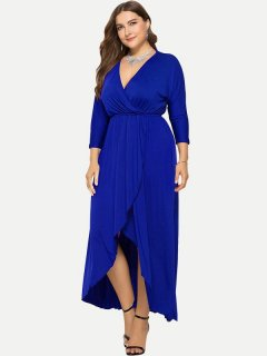 Plus Size Solid Wrap Maxi Dress