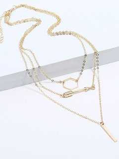 Arrow Layered Gold Chain Pendant Necklace
