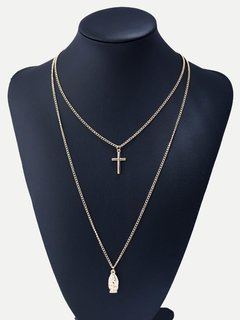 Cross Layered Gold Pendant Necklace