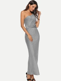 Silver Bodycon One Shoulder Evening Dress