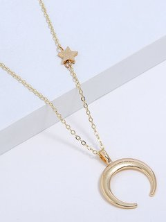 Moon & Star Gold Pendant Necklace
