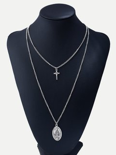 Cross Silver Chain Layered Pendant Necklace