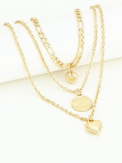 Heart Layered Gold Chain Necklace