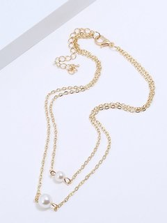 Pearl Layered Gold Chain Necklace