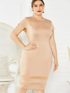 Plus Size Sexy Solid Bodycon Dress