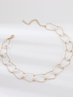 Gold Pearl Chain Necklace Choker
