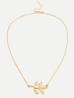 Gold Leaf Chain Pendant Necklace