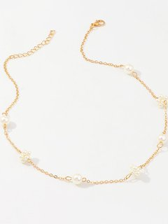 Gold Pearl Chain Necklace