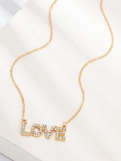 Gold Letter Rhinestone Pendant Necklace