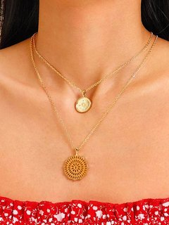 Circle Gold Layered Pendant Necklace