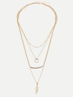 Circle & Leaf Layered Gold Necklace