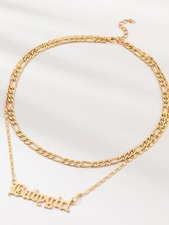Letter Gold Layered Chain Necklace