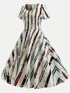 60s Print Rockabilly Swing Dress