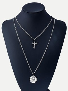 Cross Silver Layered Pendant Necklace