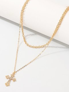 Cross Gold Layered Pendant Necklace