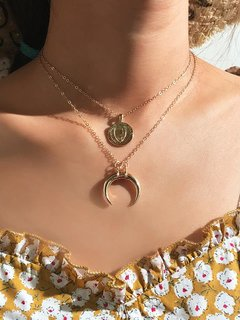 Moon Gold Layered Chain Necklace