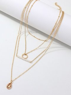 Shell Circle Pearl Gold Layered Necklace