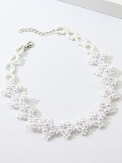 Pearl Beaded White Choker Necklace