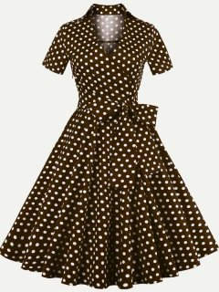 60s Polka Dots Lacing Rockabilly Dress
