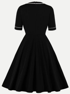 60s Black Color Block A-line Dress